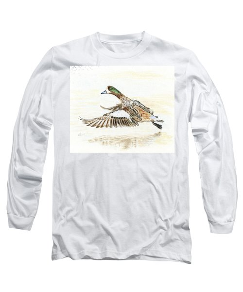 Long Sleeve T-Shirt featuring the painting Duck Taking Off. by Raffaella Lunelli