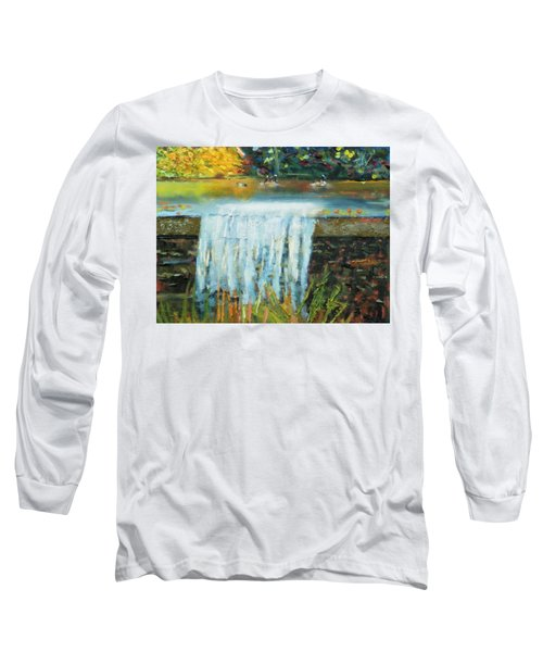 Long Sleeve T-Shirt featuring the painting Ducks And Waterfall by Michael Daniels