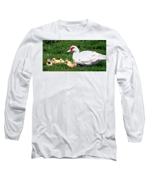 Long Sleeve T-Shirt featuring the mixed media Ducks by Charles Shoup