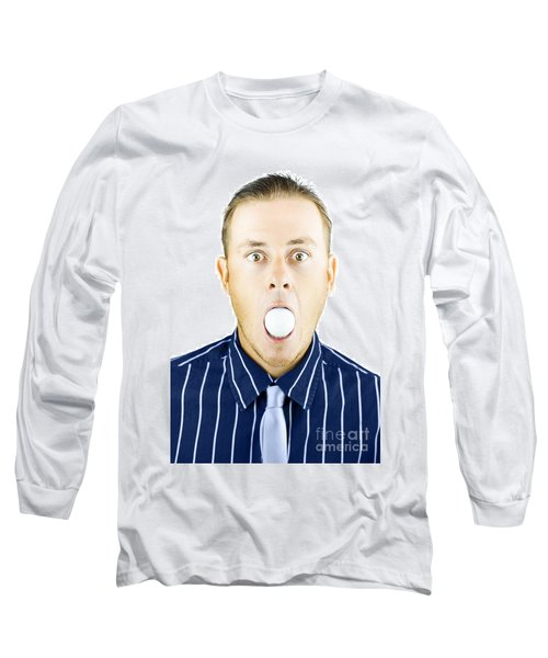 Dumbfounded Man Silenced By A Golf Ball Long Sleeve T-Shirt