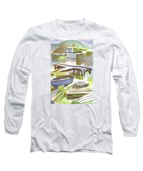Long Sleeve T-Shirt featuring the painting Dusk At The Boat Dock by Kip DeVore