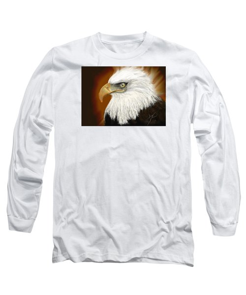 Long Sleeve T-Shirt featuring the digital art Eagle American by Darren Cannell