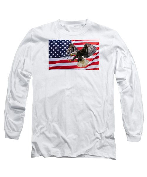 Eagle And Flag Long Sleeve T-Shirt by Scott Carruthers