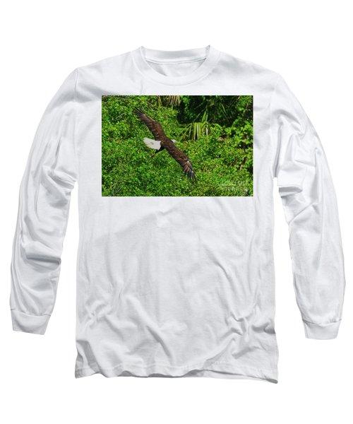 Long Sleeve T-Shirt featuring the photograph Eagle Series Flight by Deborah Benoit