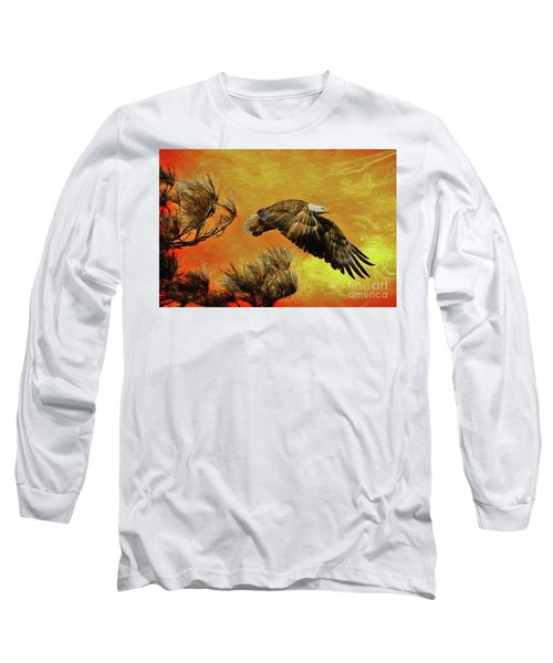 Long Sleeve T-Shirt featuring the painting Eagle Series Strength by Deborah Benoit