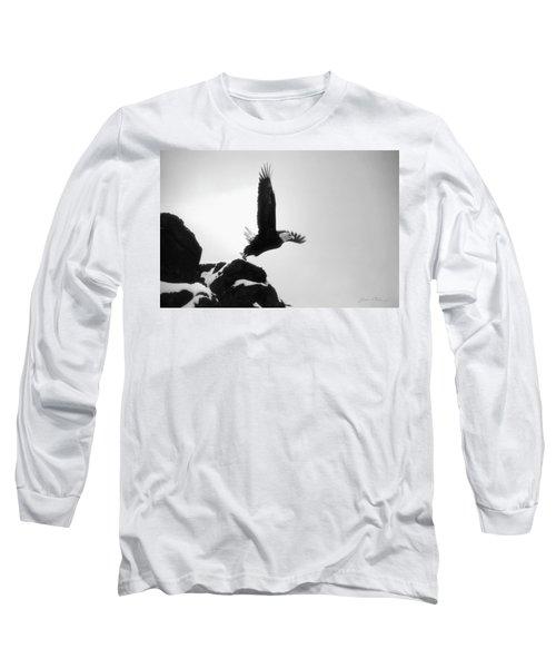 Eagle Takeoff At Adak, Alaska Long Sleeve T-Shirt by John A Rodriguez