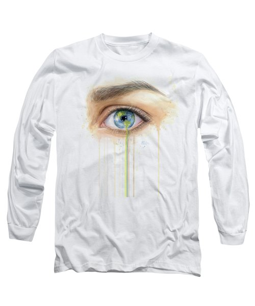 Earth In The Eye Crying Planet Long Sleeve T-Shirt