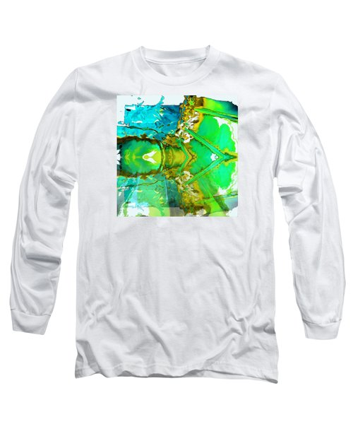 Long Sleeve T-Shirt featuring the painting Earth Water Sky Abstract by Carolyn Repka