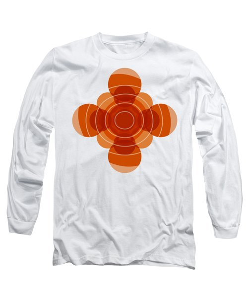 Earthy Red Scandinavian Floral Design Long Sleeve T-Shirt by Frank Tschakert