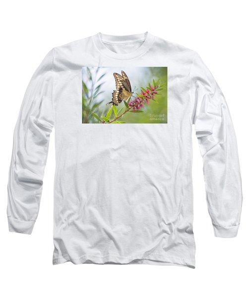 Eastern Tiger Swallowtail Butterfly On Bottlebrush Long Sleeve T-Shirt