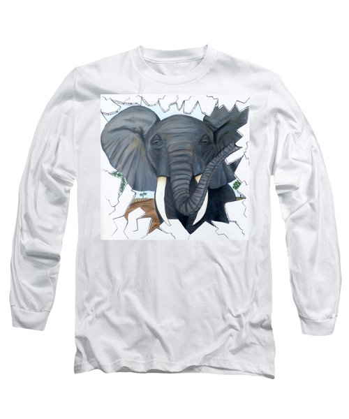 Long Sleeve T-Shirt featuring the painting Eavesdropping Elephant by Teresa Wing