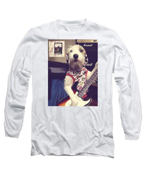 Eddie Plays Guitar Long Sleeve T-Shirt by Richard Reeve