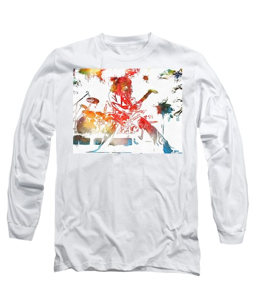 Eddie Van Halen Paint Splatter Long Sleeve T-Shirt by Dan Sproul