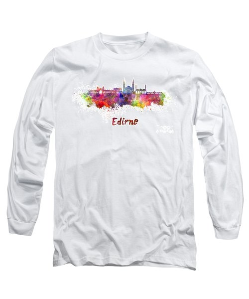 Edirne Skyline In Watercolor Long Sleeve T-Shirt by Pablo Romero
