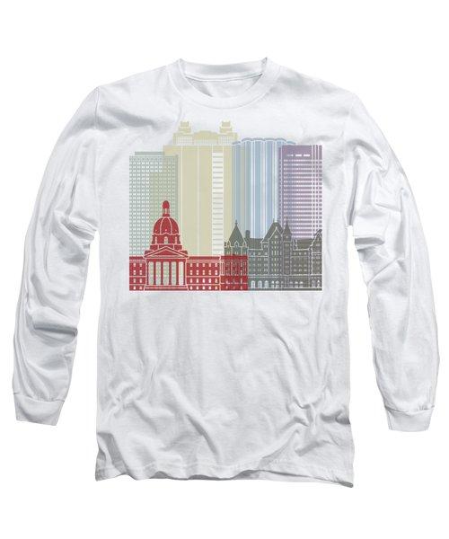 Edmonton Skyline Poster Long Sleeve T-Shirt