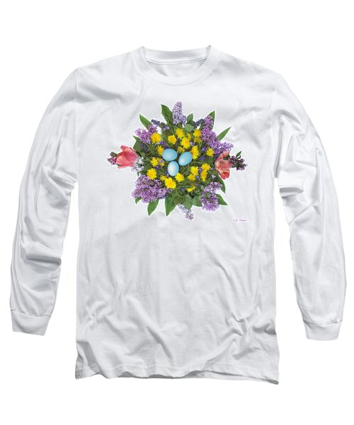 Long Sleeve T-Shirt featuring the photograph Eggs In Dandelions, Lilacs, Violets And Tulips by Lise Winne