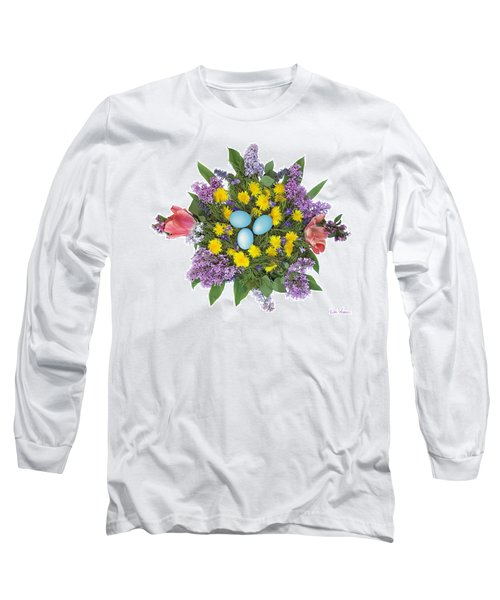 Eggs In Dandelions, Lilacs, Violets And Tulips Long Sleeve T-Shirt