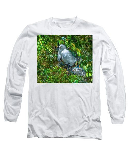 Egret And Chicks Long Sleeve T-Shirt