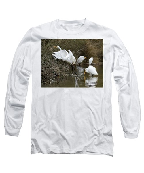Long Sleeve T-Shirt featuring the photograph Egret Exit by George Randy Bass
