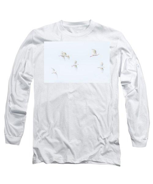 Egrets White On White Color Long Sleeve T-Shirt