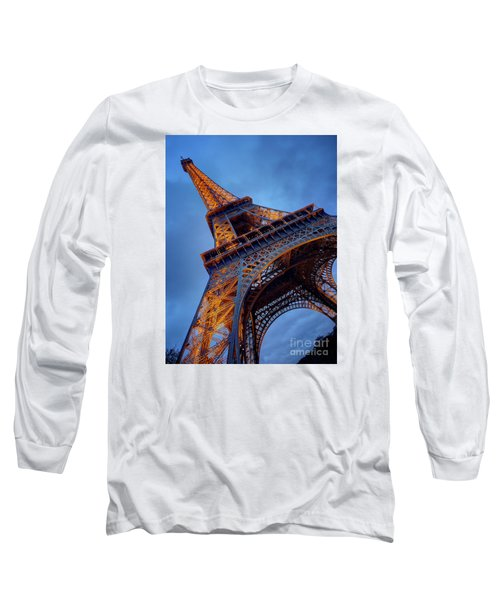 Eiffel Dressed In Gold Long Sleeve T-Shirt by Kim Andelkovic