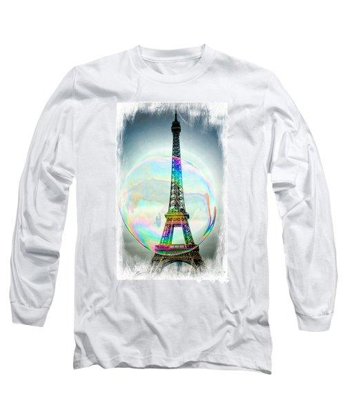 Eiffel Tower Bubble Long Sleeve T-Shirt by Lilliana Mendez