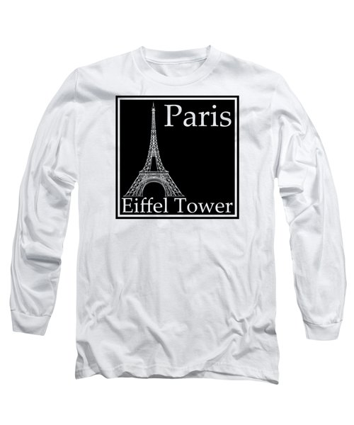 Eiffel Tower In Black Long Sleeve T-Shirt by Custom Home Fashions
