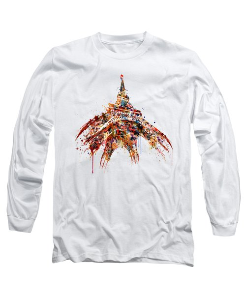 Eiffel Tower Watercolor Long Sleeve T-Shirt by Marian Voicu
