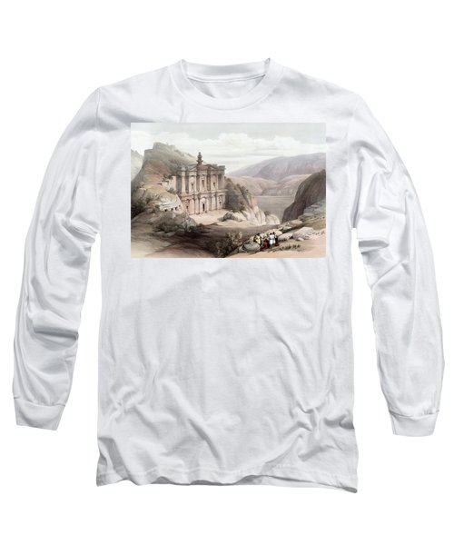 El Deir Petra 1839 Long Sleeve T-Shirt by Munir Alawi