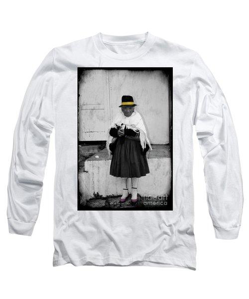 Elderly Beggar In Biblian Long Sleeve T-Shirt by Al Bourassa