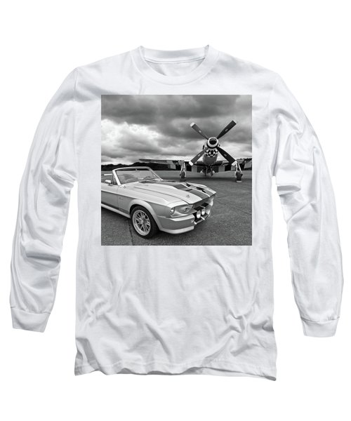 Eleanor Mustang With P51 Black And White Long Sleeve T-Shirt