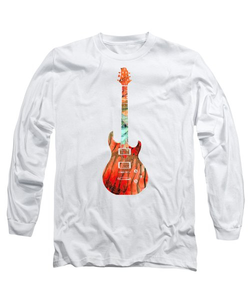 Electric Guitar 2 - Buy Colorful Abstract Musical Instrument Long Sleeve T-Shirt by Sharon Cummings