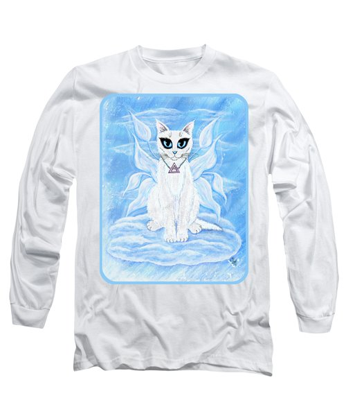 Long Sleeve T-Shirt featuring the painting Elemental Air Fairy Cat by Carrie Hawks