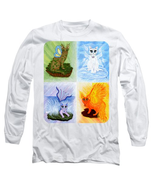Long Sleeve T-Shirt featuring the painting Elemental Cats by Carrie Hawks