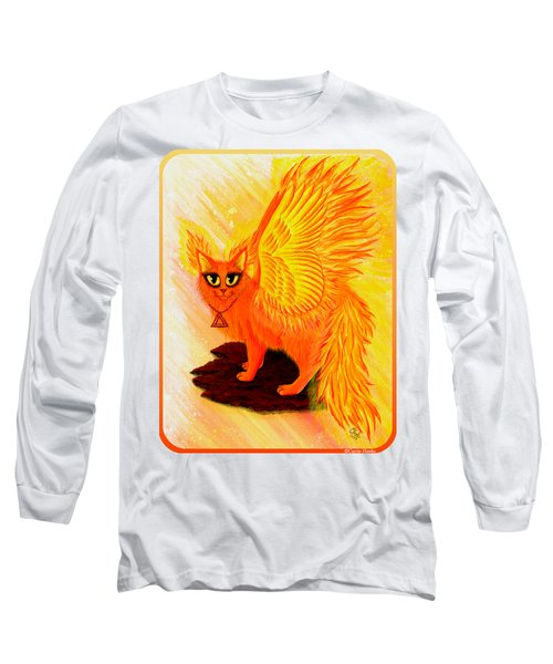 Long Sleeve T-Shirt featuring the painting Elemental Fire Fairy Cat by Carrie Hawks