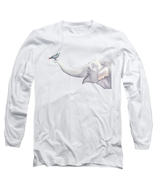 Elephant And Bird Watercolor Long Sleeve T-Shirt by Taylan Apukovska