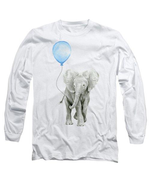 Elephant Watercolor Blue Nursery Art Long Sleeve T-Shirt