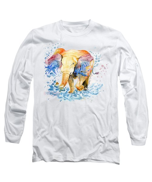 Elephant Watercolor Long Sleeve T-Shirt by Melly Terpening