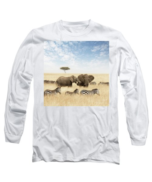 Elephants And Zebras In The Grasslands Of The Masai Mara Long Sleeve T-Shirt