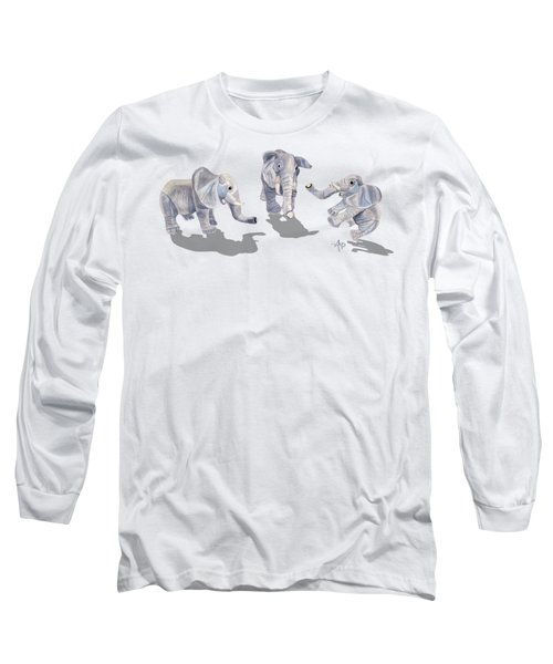 Elephants Long Sleeve T-Shirt by Angeles M Pomata