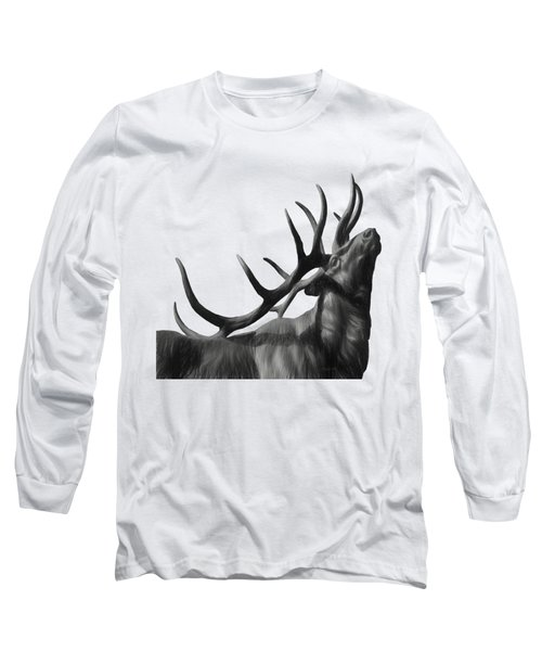 Elk In Black In White  Long Sleeve T-Shirt
