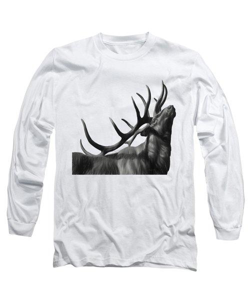 Elk In Black In White  Long Sleeve T-Shirt