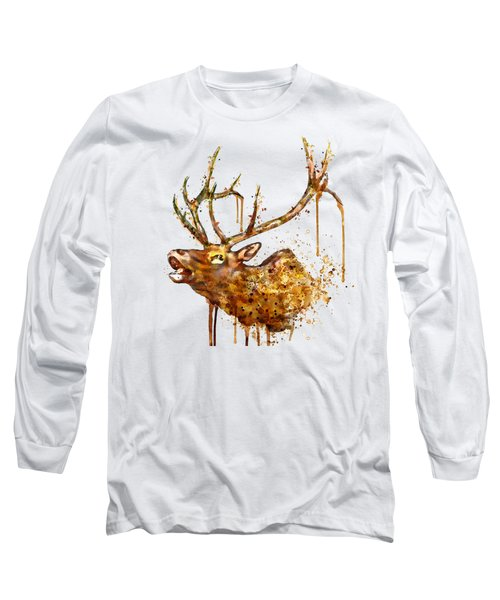 Elk In Watercolor Long Sleeve T-Shirt by Marian Voicu