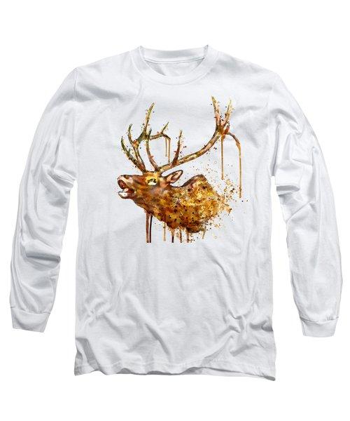 Elk In Watercolor Long Sleeve T-Shirt