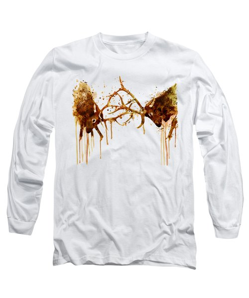 Elks Fight Long Sleeve T-Shirt by Marian Voicu