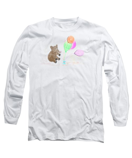 Ellie And Balloons Long Sleeve T-Shirt by Judy Hall-Folde