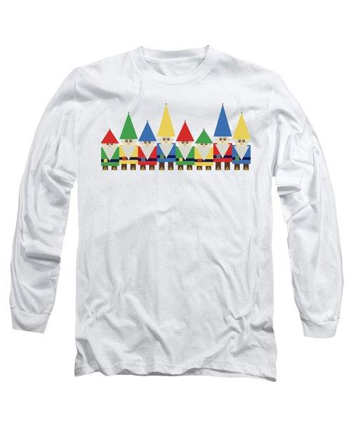 Elves On White Long Sleeve T-Shirt