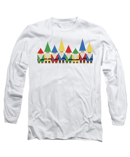 Elves On White Long Sleeve T-Shirt