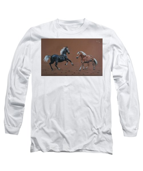 Long Sleeve T-Shirt featuring the drawing Elza And Biba by Melita Safran