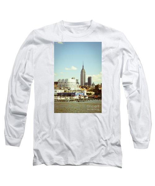 Empire State Building From Hudson Long Sleeve T-Shirt by Perry Van Munster